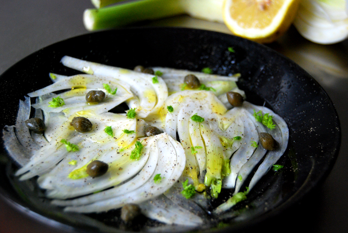 Fennel Carpaccio with Caper and Lemon