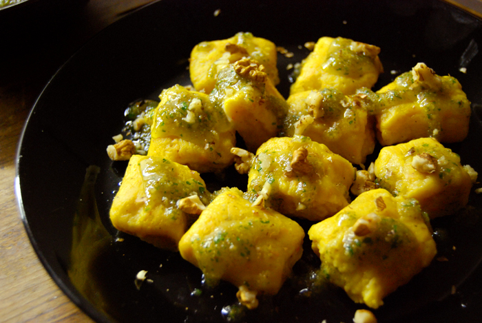 Pumpkin Gnocchi with Walnut Pesto