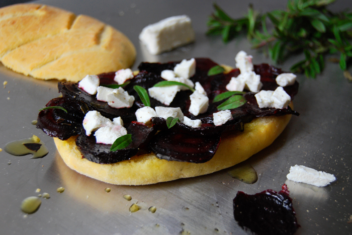 Beetroot + Goat Cheese Fougasse Sandwich