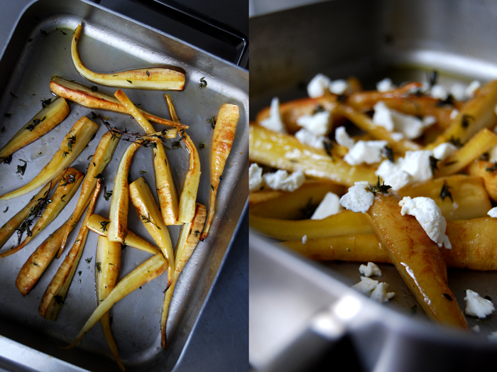 Maple roasted Parsnip with Goat Cheese + Thyme