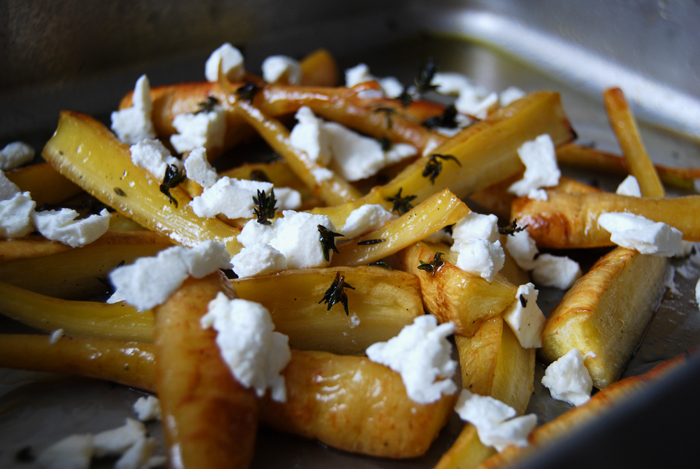 Maple roast Parsnip with Goat Cheese + Thyme