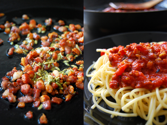 Bacon Fennel Tomato Pasta