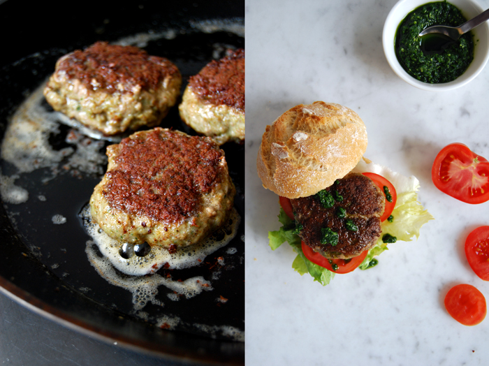 Hamburger with Lamb and Ramp Pesto