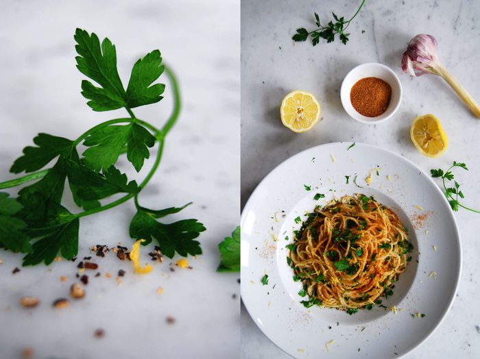 Pasta with Bottarga di Tonno, Parsley and Lemon