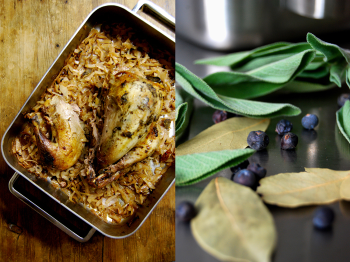 Baked Pheasant + Cabbage