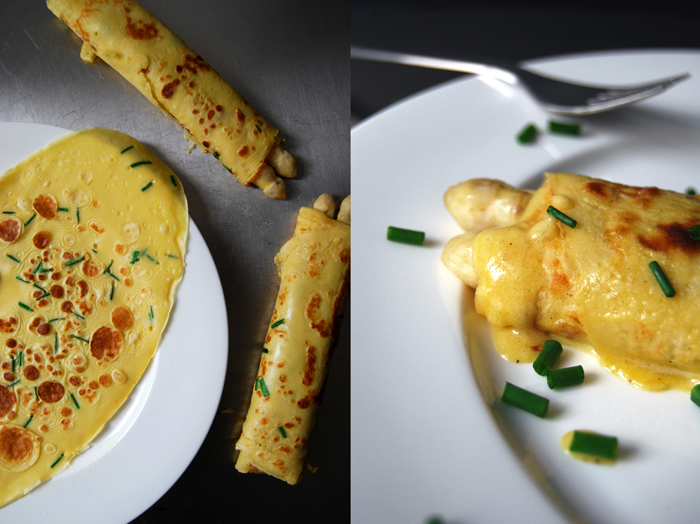 Asparagus with Crêpe and Sauce Hollandaise