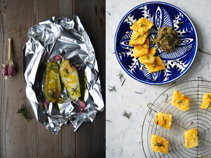 Roast Aubergine Mousse with Rosemary + Polenta