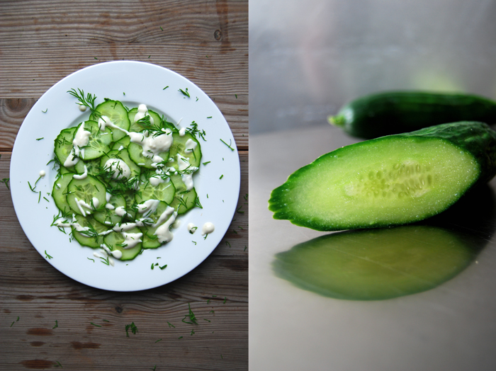 Cucumber Salad with Dill + Sour Cream