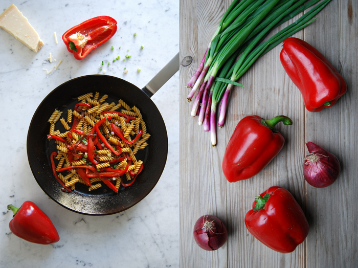 Fusilli with Bell Pepper + Red Onions