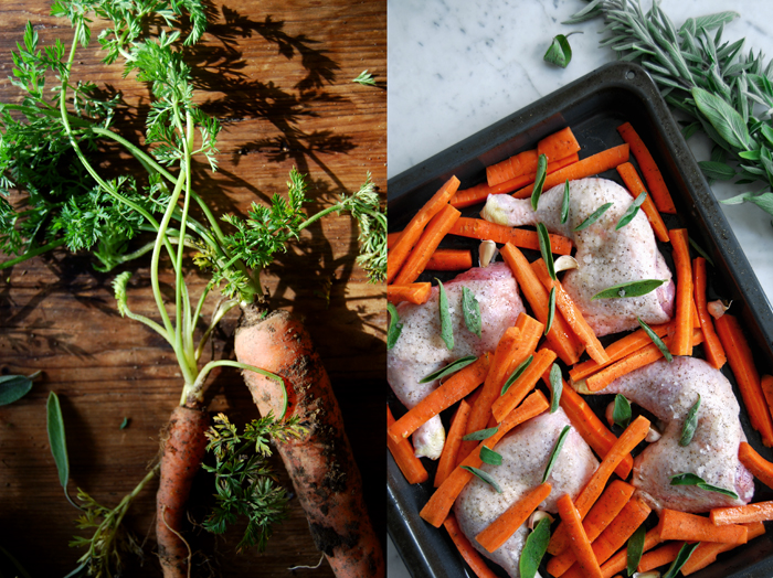Honey glazed Chicken with Sage + Carrots
