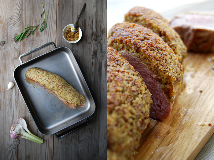 Pork with Dijon Mustard + Tarragon Crust