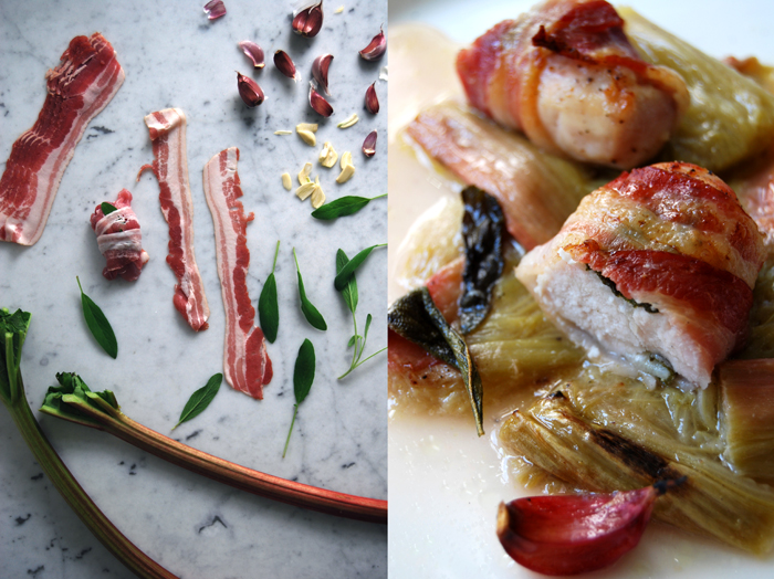 Rabbit wrapped in Sage + Bacon on Rhubarb