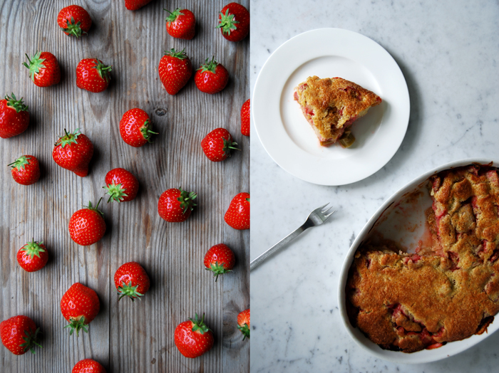 Rhubarb + Strawberry Upside Down Cake
