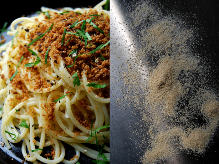 Spaghetti with Anchovy Pangrattato, Lemon and Parsley