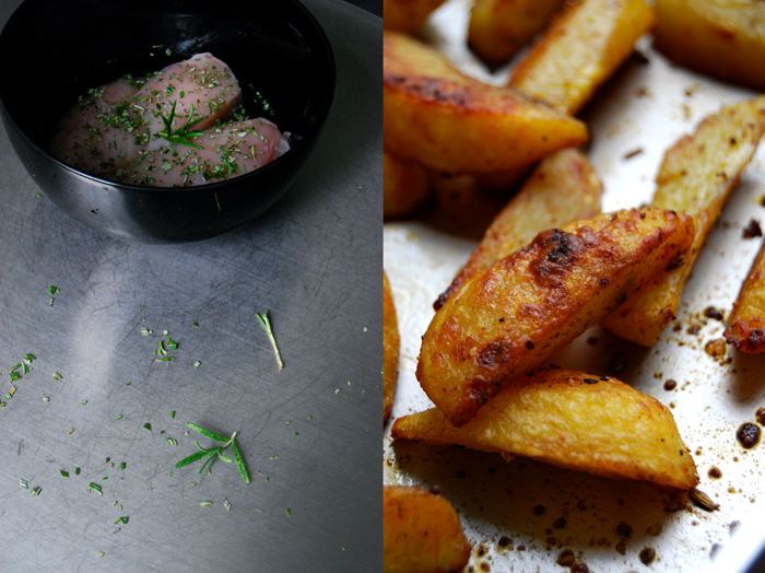 Elderflower Rosemary Chicken + Potato Wedges
