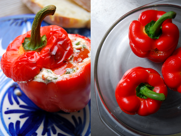 Feta stuffed Bell Pepper with Parsley + Mint