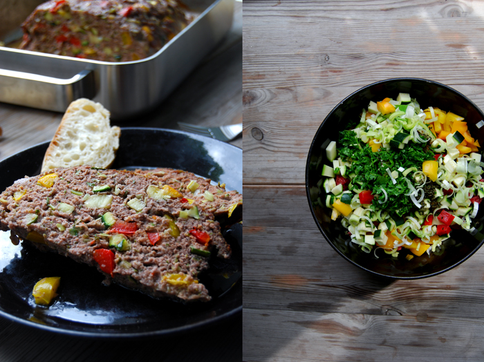 Mediterranean Meatloaf with Zucchini + Bell Pepper
