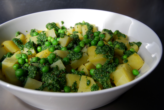 Potatoes with Rucola Pesto + Peas