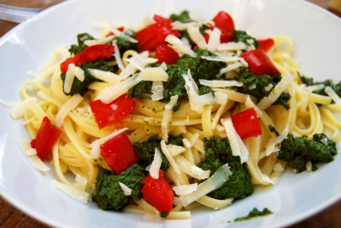 Basil Pesto with Spaghetti and Tomatoes