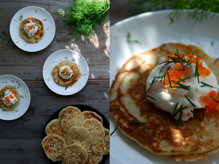 Blini with Roe Cream + Dill