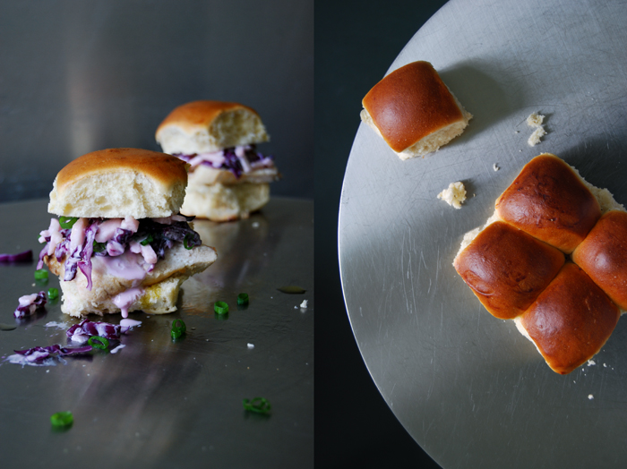 Chicken Sandwich with Red Cabbage and Orange Oil