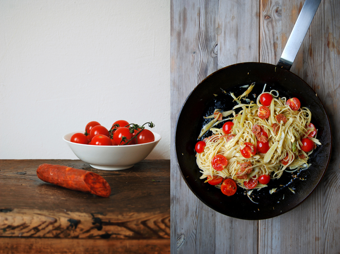 Spaghetti with Chorizo + Fennel Oil