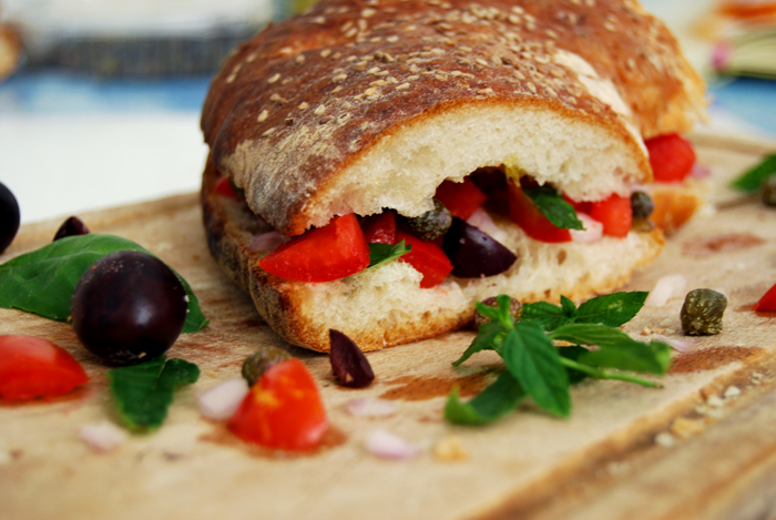 Maltese Ftira with Tomatoes, Capers + Mint