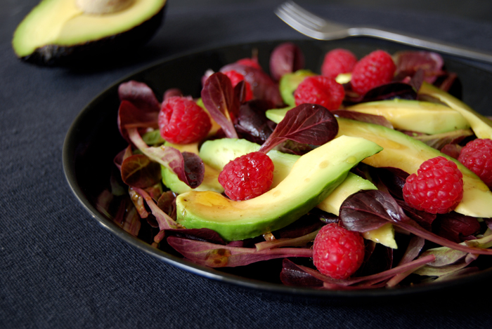Mâche, Avocado + Raspberry Salad