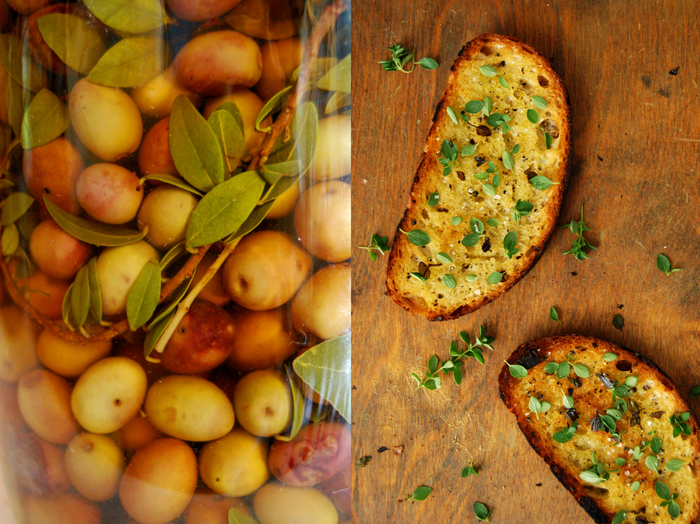 Pan roasted Bread with Olive Oil + fresh Oregano