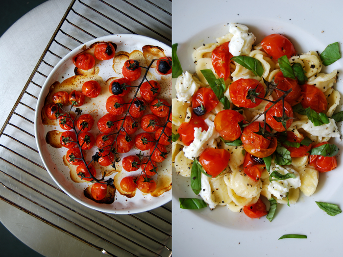 Orecchiette with Grilled Tomatoes + Mozzarella