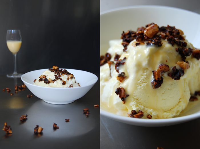 Caramelized Nuts + Eggnog Ice Cream