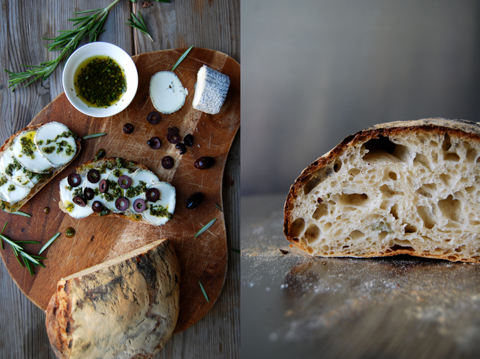 Chevre and Rosemary Oil Sandwich with Olives