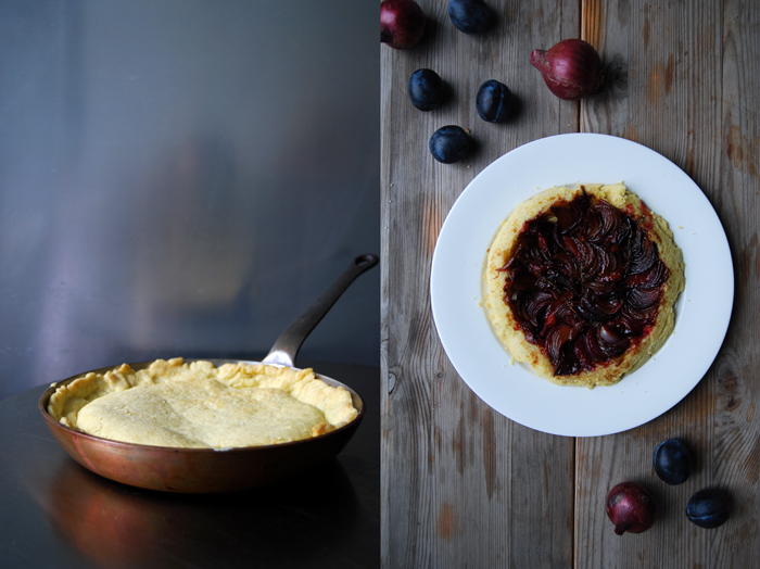 Red Onion and Plum Tart Tatin with Chèvre