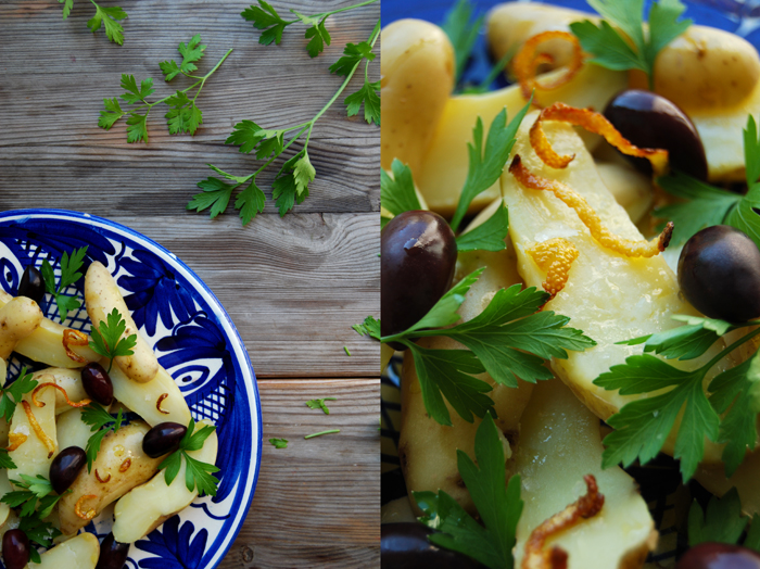 Potatoes with Roast Lemon Peel, Olives and Parsley