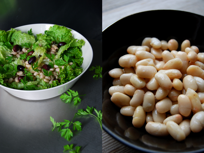 A Salad with Greens, Cannellini Beans and Olives