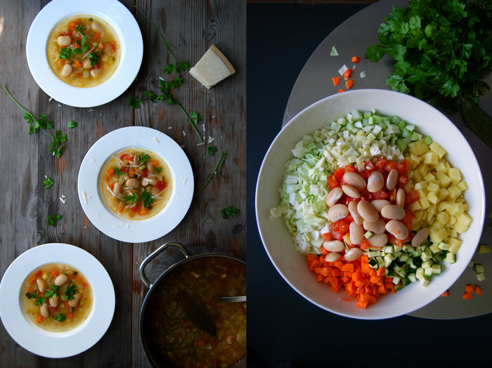 Minestrone with Zucchini, Beans and Parmesan