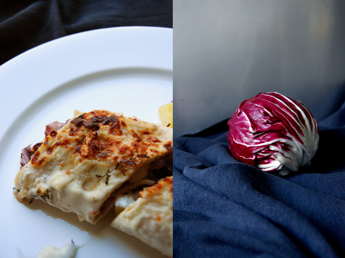 Radicchio, Potato and Thyme Crespelle