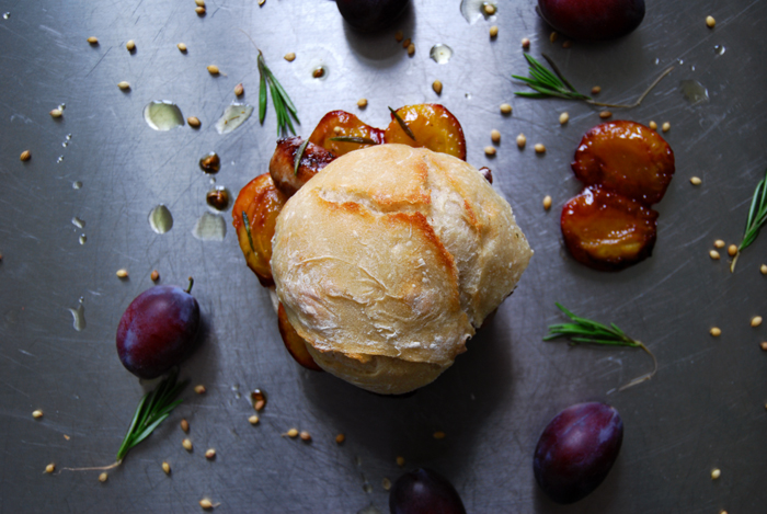 Caramelized Plum and Sausage Sandwich with Rosemary and Coriander Oil