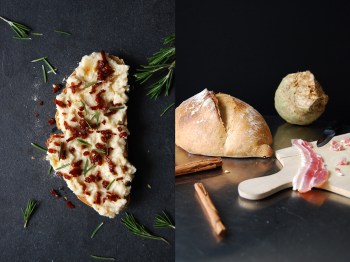 A Sandwich with Celery Mousse and Caramelized Bacon