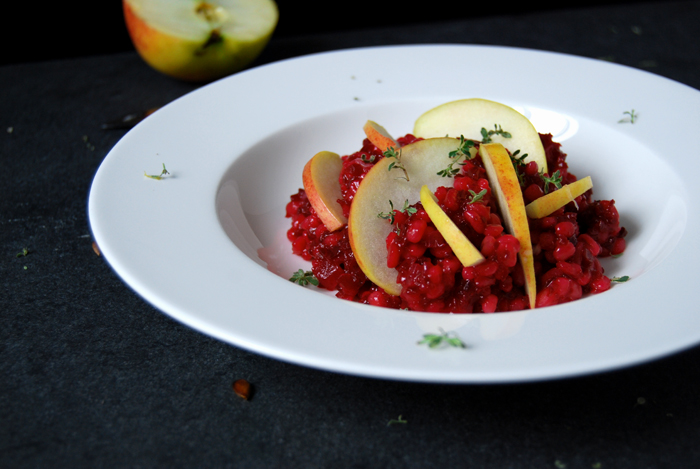 Cider and Beetroot Orzotto with Thyme