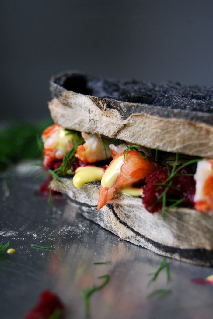 Crayfish and Beetroot Mousse Sandwich - a Swedish Lobster Roll - eat in my kitchen eat in my kitchen