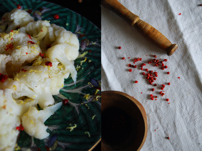 Ginger Lemon Cauliflower with Pink Peppercorns