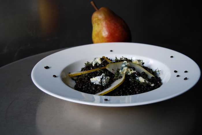 Beluga Lentils with Pear and Blue Cheese