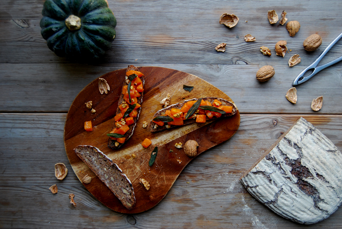 Pumpkin and Sage Sandwich with Walnuts