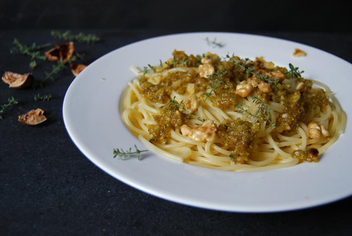 Spaghetti with Walnut Pesto and Thyme