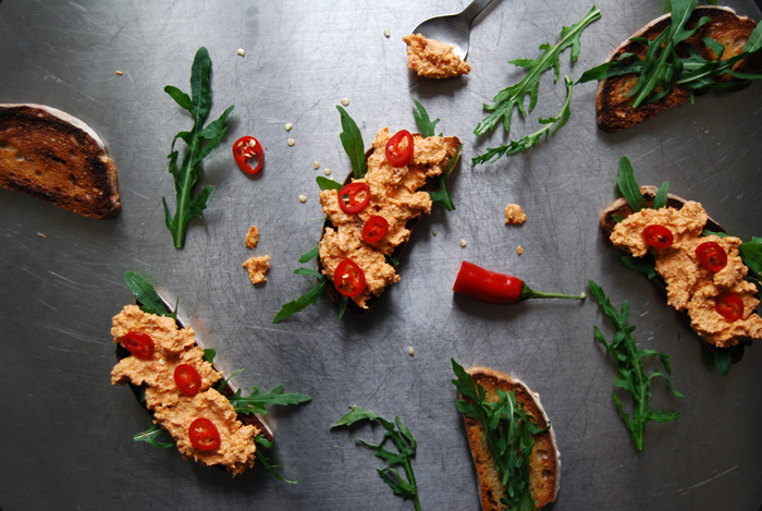 Feta, Sun-dried Tomato and Rucola Crostini