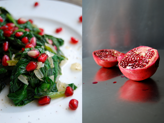 Spinach with Cumin, Cinnamon and Pomegranate