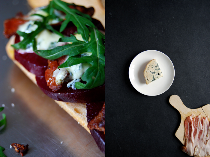A grilled Beetroot, Bacon and Blue Cheese Sandwich