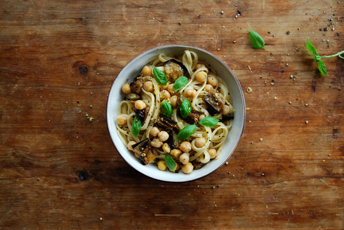 Linguine with Chickpeas, Grilled Aubergine and Lemon