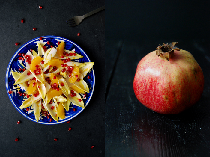 Chicory, Pomegranate and Orange Salad with fresh Turmeric